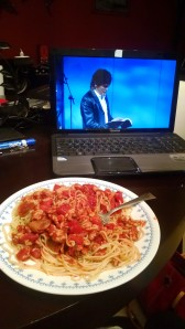 Prepping for Richmond 26.2 .. Homemade spaghetti sauce with ground chicken and Joseph Prince